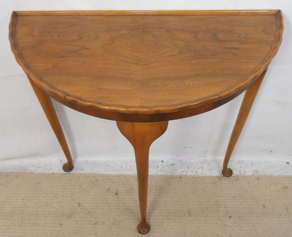 Small Bowfront Walnut Console Side Table